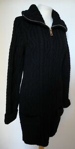 New Cardigan Italy 10 Cable 8 exterior S Knit Coatigan Black D Chunky Long T1J3FKcl