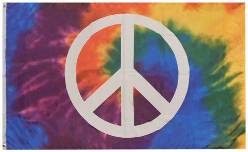Tie Die Peace Sign Premium 100D Woven Poly Nylon 3x5 3/'x5/' Flag Banner Grommets