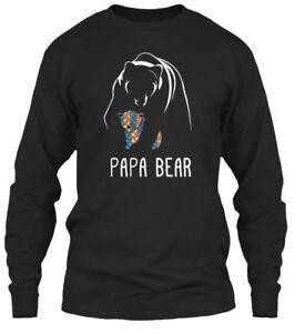 647597f2 Image is loading Papa-Bear-Autism-Awareness-Gildan-Long-Sleeve-Tee-