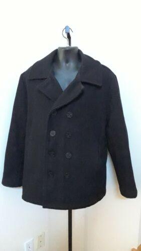Vtg Schott US Navy 740N Pea Coat Size 44 Black Woo