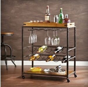 Kearney Wood Bar Cart Wheeled Rolling Beverage Serving Kitchen