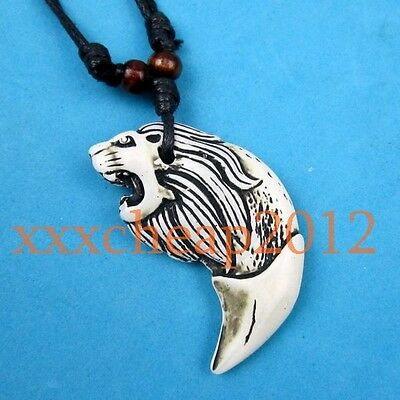 White Lion tooth-shaped pendant necklace rope RH120