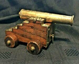 Royal-Navy-Deck-Gun-Vintage-18-19th-Century-Elevating-Brass-Cannon-Model