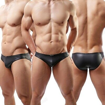 Brand Men's Leather Like Bikini Briefs Nightwear Sexy Black Underwear M L XL C34