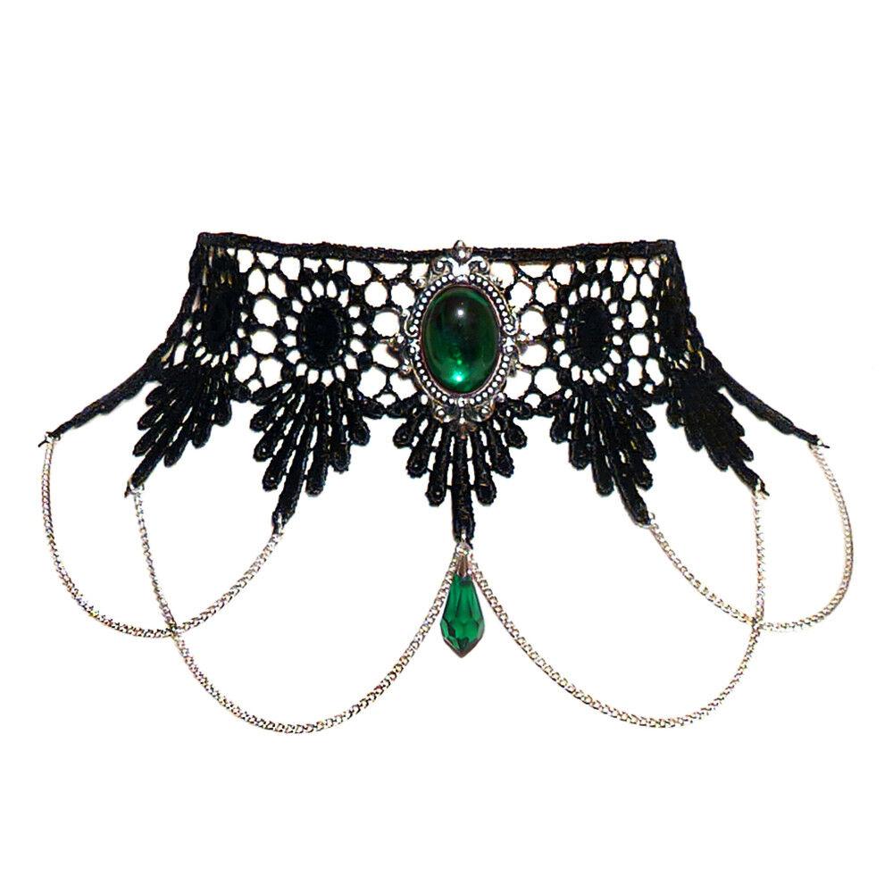 verde SMERALDO GOTICO IN PIZZO girocollo e anello anello anello Set Goth Collana Vittoriano Piana e1824a