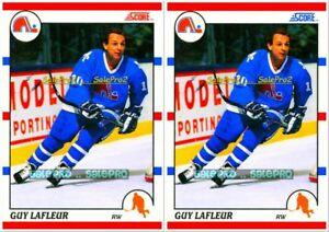 2x-SCORE-1990-GUY-LaFLEUR-NHL-QUEBEC-NORDIQUES-RARE-USA-amp-CANADIAN-MINT-290-LOT