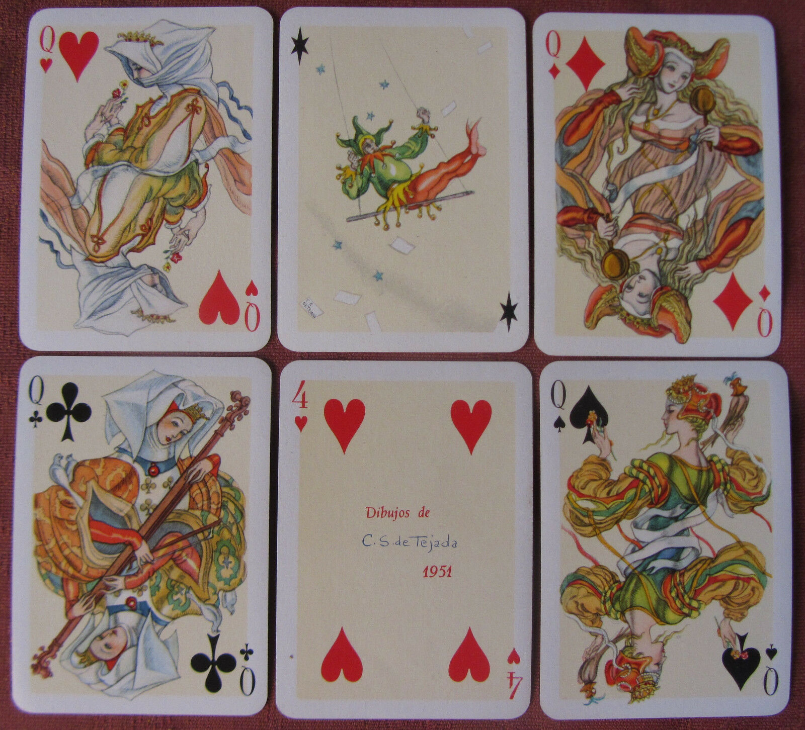 1951-CARTE DA GIOCO FOURNIER C S DE TEJADA NON STANDARD PLAYING CARDS AND JOKER