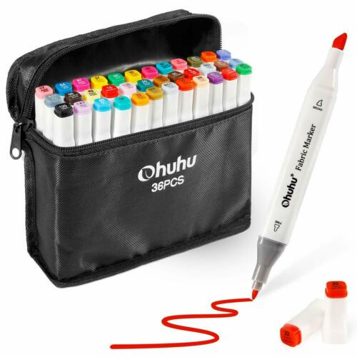 Fabric Markers Permanent 36 Colors Of Ohuhu Dual Tip Fabric Paint Marker Pens Fo