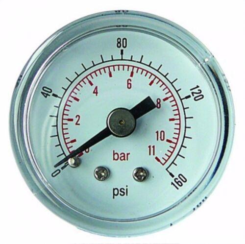 "Manómetro 50mm 1//8/"" BSP entrada posterior 0-15 Psi 1 Bar De Aire Aceite Seco GC501"