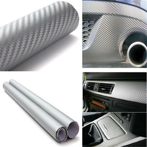 127cmx30cm-Silver-3D-Carbon-Fiber-Vinyl-Car-Wrap-Sheet-Roll-Film-Sticker-Decal