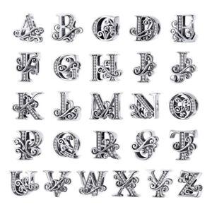 VOROCO-Vintage-Sterling-Silver-Note-Alphabet-Charms-Fit-European-Charm-Bracelet