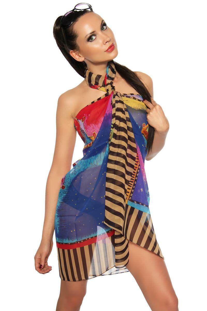 jowihas Luftiges Sarong Tuch Strandkleid aus Chiffon auf Verschiedene Arten zu t