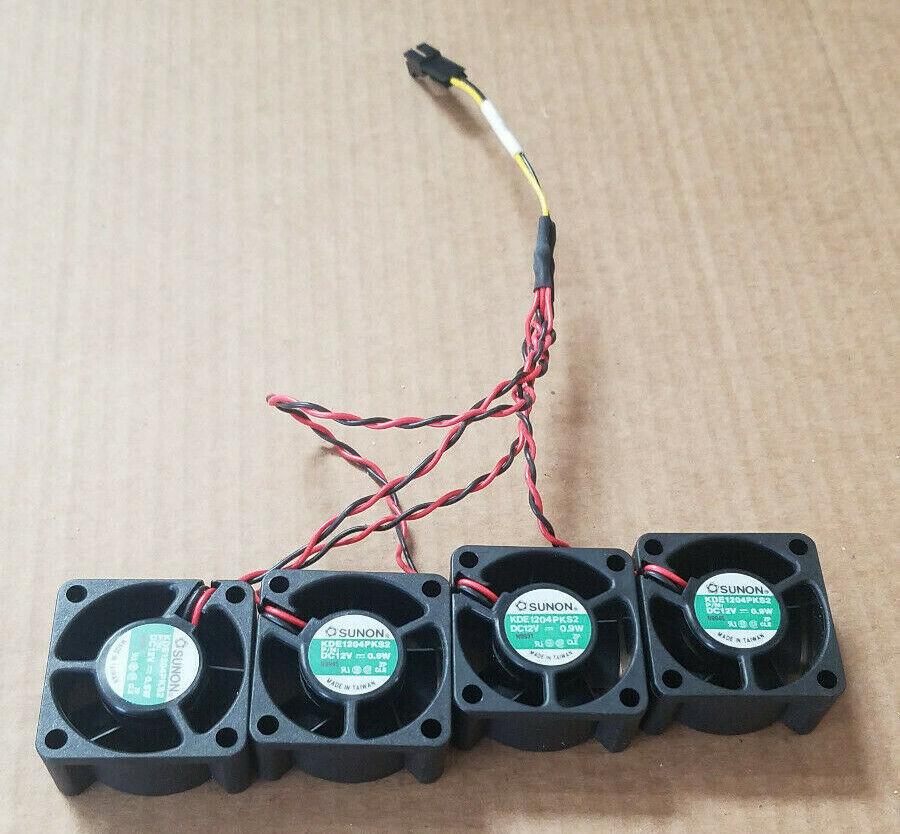 (4) SUNON KDE1204PKS2 Custom 4-to-1 2-pin - 40mm flange mount - 6000RPM 12VDC