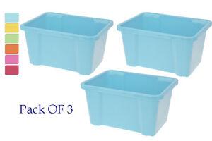 Paquete-de-3-Grande-plastico-apilable-Almacenamiento-Ninos-Caja-de-juguetes