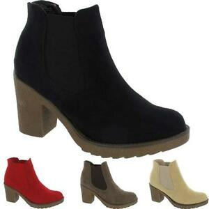 Womens-Ladies-Chunky-Block-High-Heel-Shoes-Platform-Ankle-Chelsea-Desert-Boots
