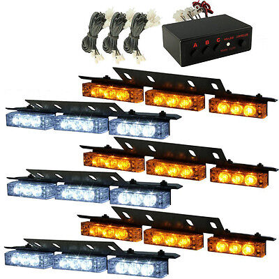 HQRP 54 LED Vehicle Strobe Lights Bars Emergency Caution Grille Deck White Amber