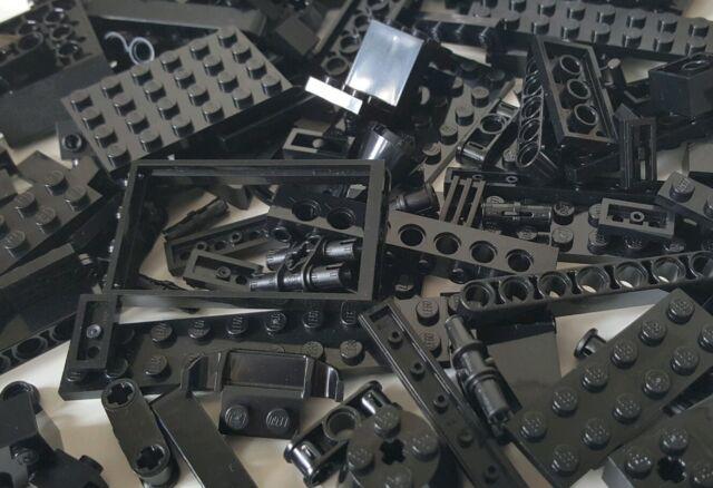LEGO 50 x Black Bricks Tiles Plates Technic Pieces Random Joblot