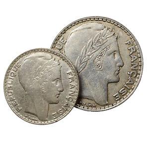 Lot-de-2-Pieces-francaises-en-Argent-de-10-francs-et-20-francs-Turin-1933-1934