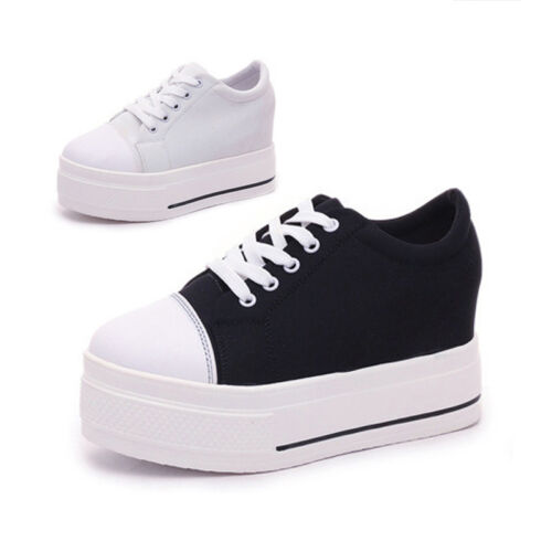 Women Platform Shoes High Sneakers High heel Lace-up Sport White Boots Fashion