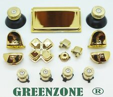 Gold Mod Kit with Brass Action Bullet Buttons & Solid Thumbs for PS4 Controller