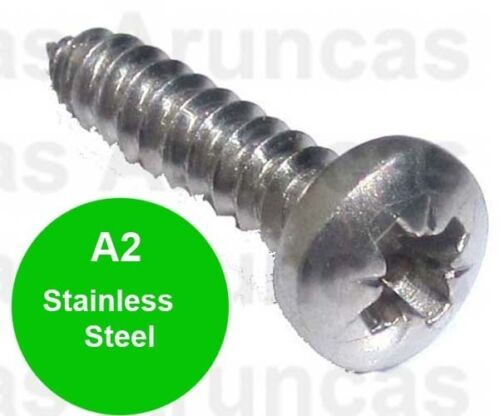 8g x 1 1//2 Stainless Steel Pozi Pan Head Self Tapping Screws 4mm x 40mm x 50