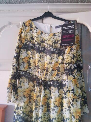 Bianca Bmwt Mint 16 Floral Velvet Taglia Dress Yellow HqF7nw5q