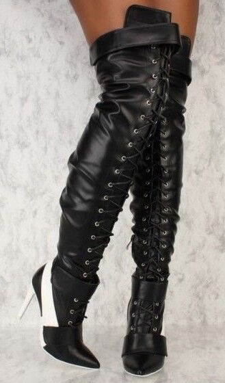 Sexy Rihanna Style Thigh High Boots Heels Faux Leather Pointy Stripper Stilettos