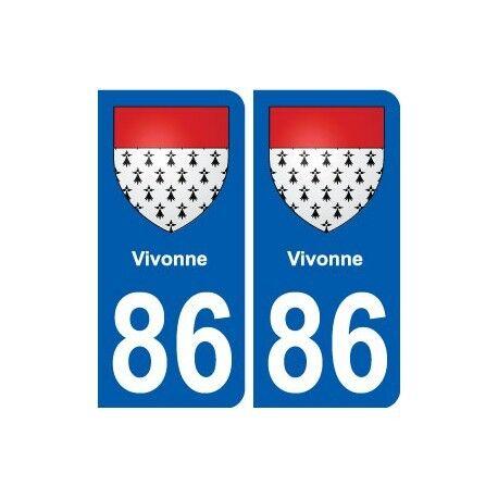 86 Vivonne blason autocollant plaque stickers ville arrondis
