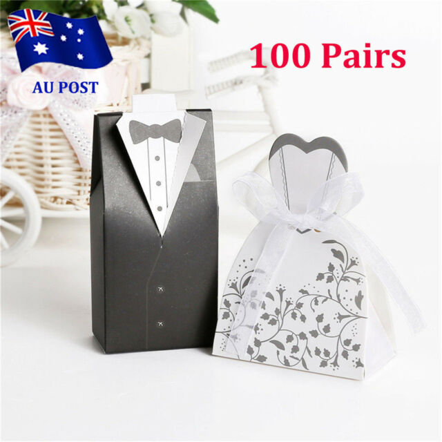 100 Pairs  Wedding Bomboniere Cake Candy Favour Boxes Dress&Tuxedo Bride Groom O