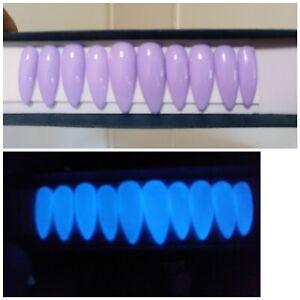 lilac stiletto gel nails  glow in the dark pastel purple