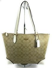 27915771 Coach Zip Top Tote in Signature Canvas Light Khaki Chalk Bag F29208
