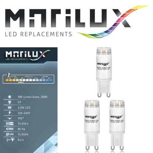MARILUX® 2,5Watt LED G9 Strahler 180 Lumen Lampe Spot Leuchtmittel Warmweiss NEU