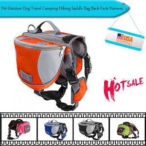 Pet Outdoor Dog Travel Camping Hiking Saddle Bag Back Pack Harness Backpack SML