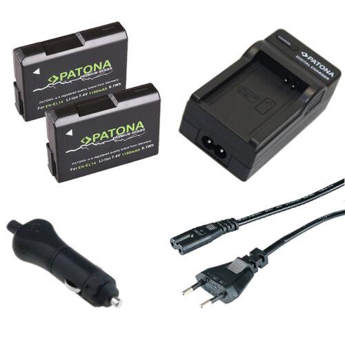 caricabatteria casa//auto per Nikon D5200,D3100 2x Batteria Patona Premium