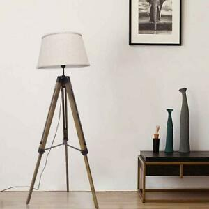 Led Tripod Floor Lamp Wood Mid Century