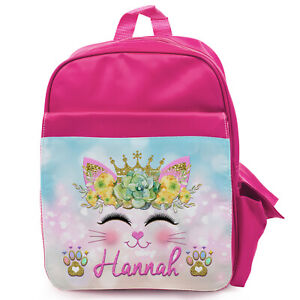 Details about PRINCESS School Bag Girls Backpack Kitten Kids Pink Rucksack Personalised KS110