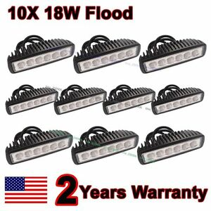 10X-6-034-inch-18W-Flood-LED-Work-Fog-Light-Bar-Truck-Boat-Driving-Offroad-SUV-4WD