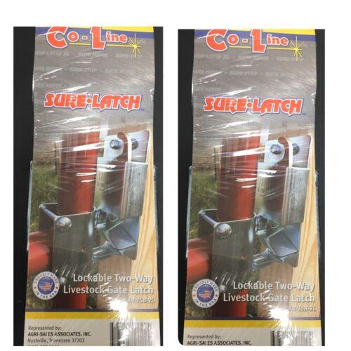 2x Co-Line SURE-LATCH Lockable Two-Way Livestock Gate Latch R-158-2L