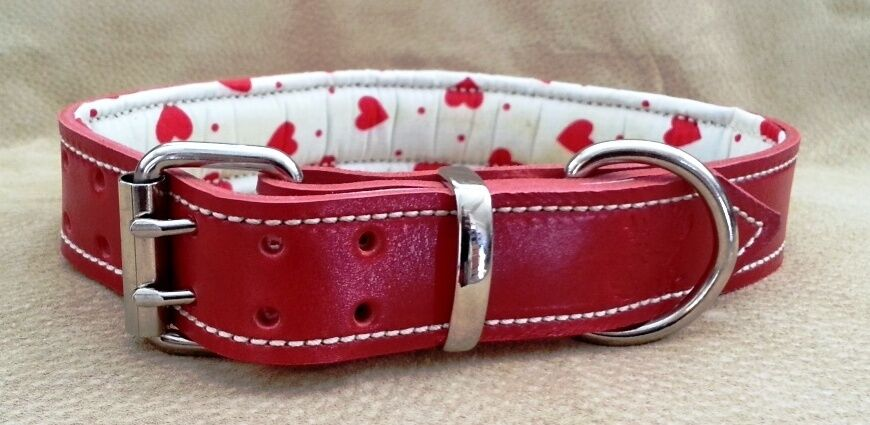 X-Large Red Leather Dog Collar with White & Red Hearts Padded Inner Lining