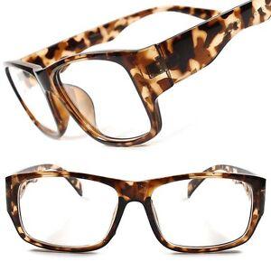 Tortoise Frame Fashion Glasses : Tortoise Frame Stylish Rectangle Geek Mens Womens Fashion ...