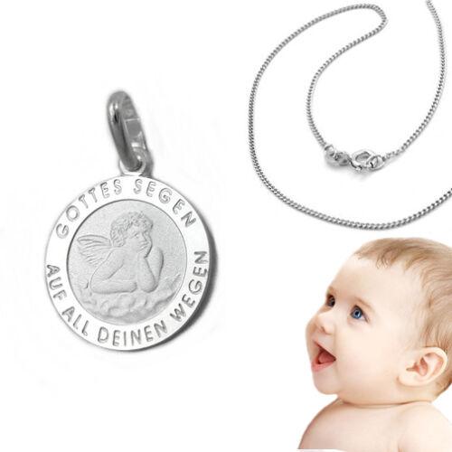 Baby Kinder Gottes Segen Schutzengel mit Namen Gravur und Kette Echt Silber 925