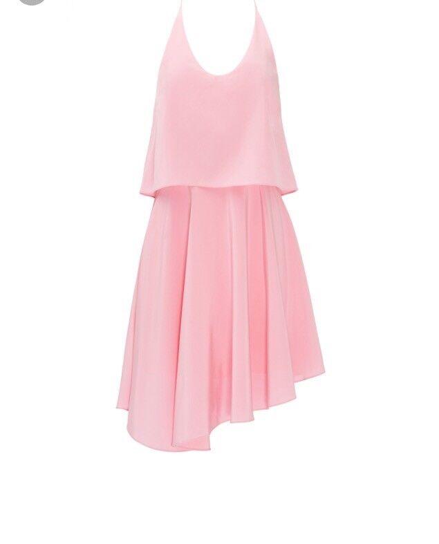 NWT Tibi Pink Pink Pink Silk Double Layer Dress Size 8  RETAIL  565 b8cdc9