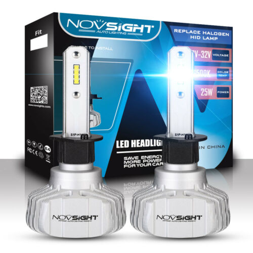 Novsight H1 Fanless LED Headlight Bulbs Conversion Kit Xenon White 50W 10000LM