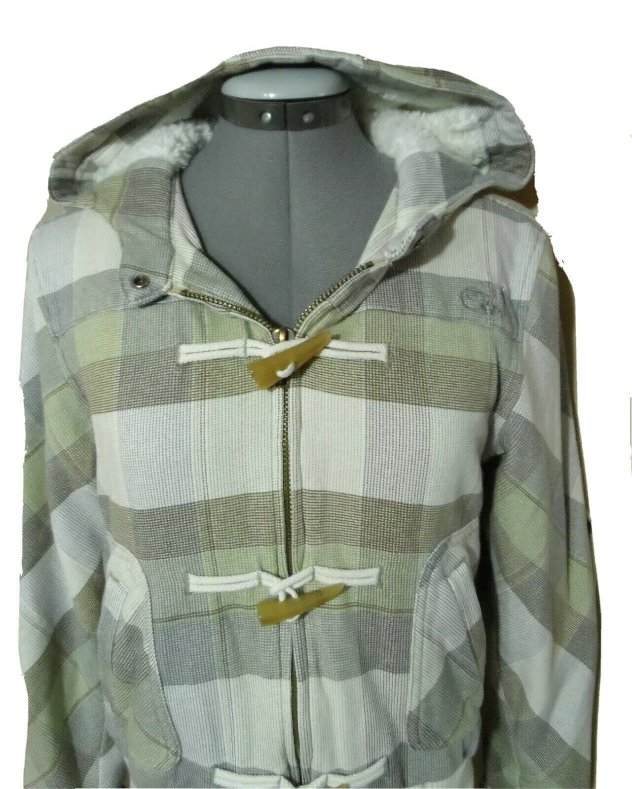 O'NEILL Double Lined Hoodie Sweatshirt Jr S Ivory Blue Green w/ Zip up Toggles