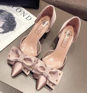 ffc915ebda6 Womens Satin Silk Rivet Bowknot Pointed Toe Pumps Med Block Heels ...