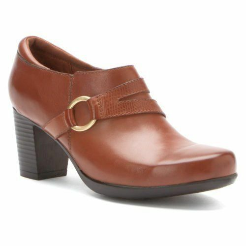 Womens Clarks® Promise Katy Brn Ankle Bootie 67786 Med & Wide Widths Shoes Size