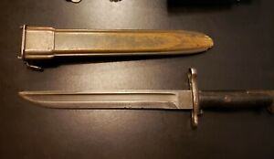 M1-garand-bayonet-1905-Springfield-10in-rare-Bowie-point-and-US-marked-scabbard