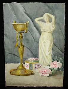 Expressif M Pouray C1920 Aquarelle Originale Brûle Encens Boite De Porcelaine Statuette