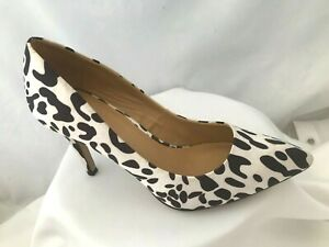 ASOS Black & White Satin Fabric Stiletto Court Shoes Size 5