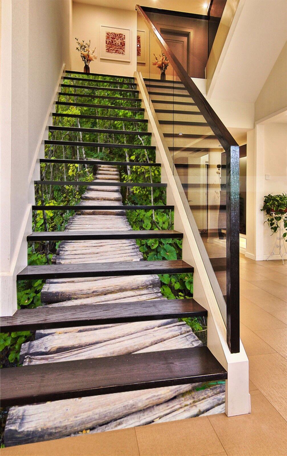 3D Bridg Forest 685 Stair Risers Decoration Photo Mural Vinyl Decal Wallpaper UK
